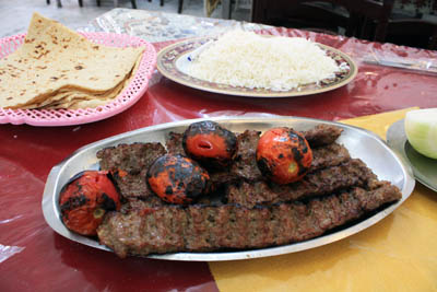 Kebob Kubideh with rice