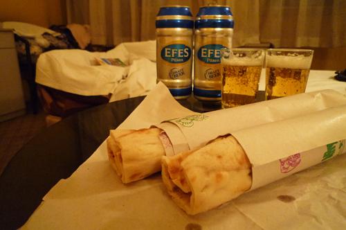 ケバブとビール