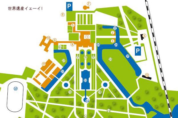 アウグストゥスブルク城敷地内俯瞰図