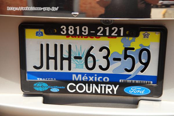 メキシコのアガベ入りナンバープレート